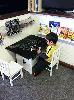 Art corner ideas. Ledge for books, chalkboard table.