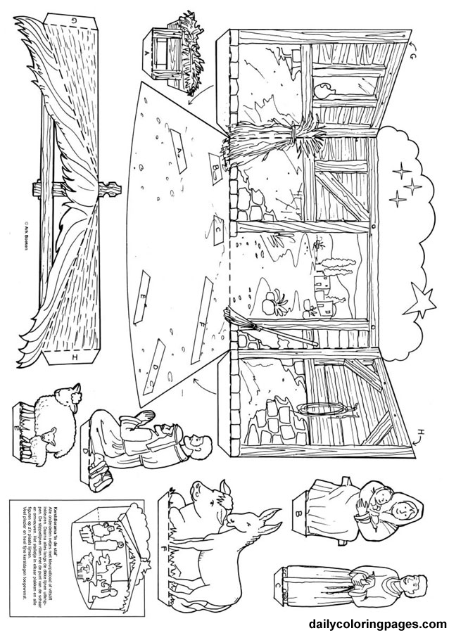 Free printable nativity diorama for Christmas coloring