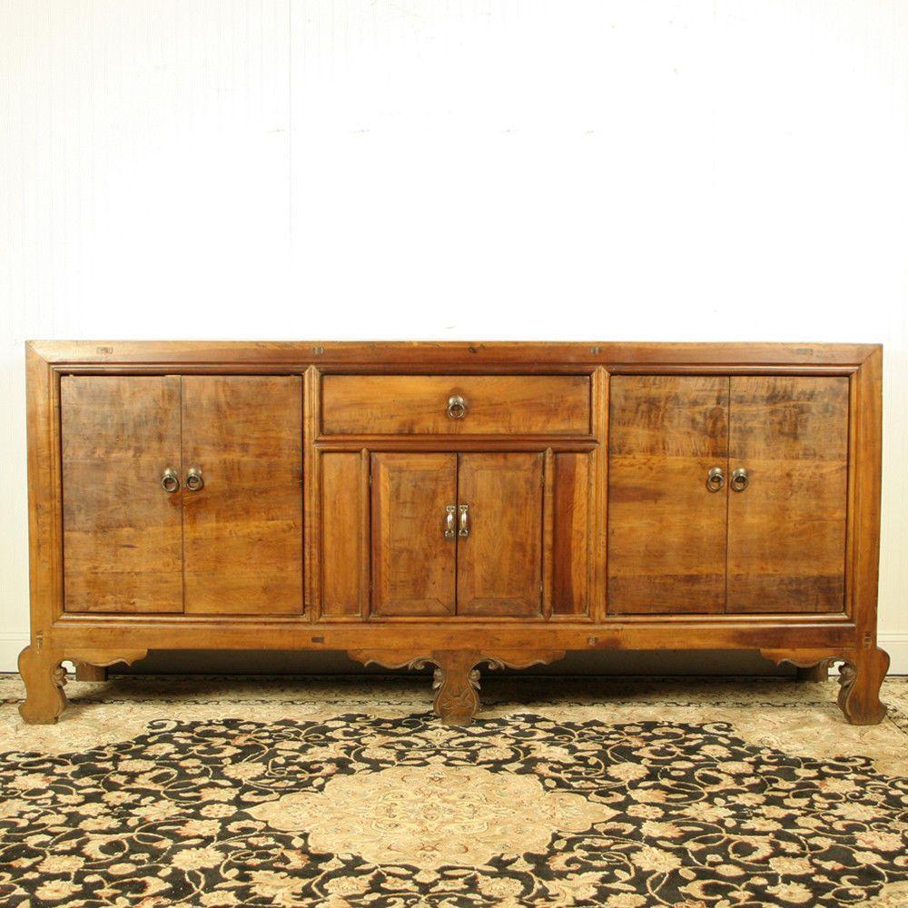 "Antique Asian Chinese 18"" Long Walnut Sideboard Buffet Cabinet ..."
