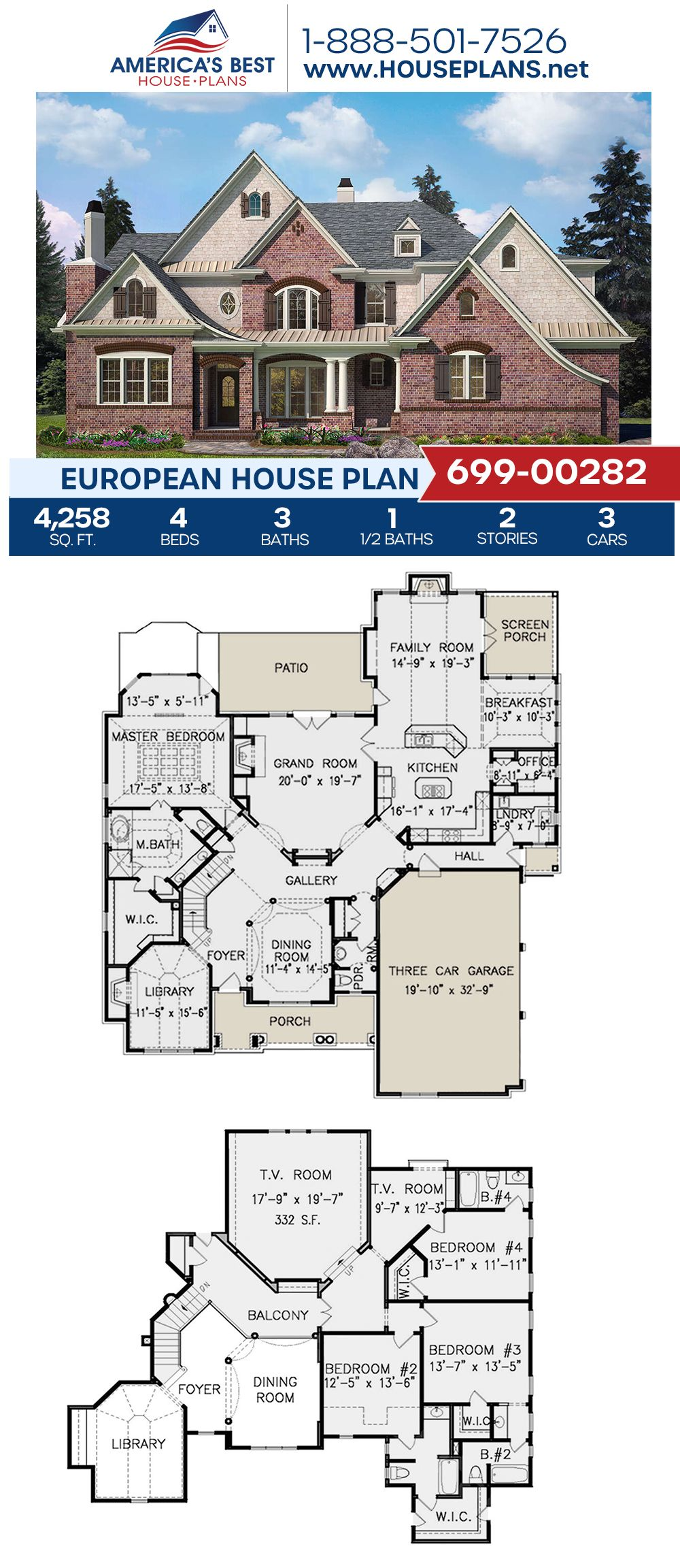 House Plan 699 00282 European Plan 4 258 Square Feet 4 Bedrooms 3 5 Bathrooms In 2020 Porch House Plans European House Affordable House Plans