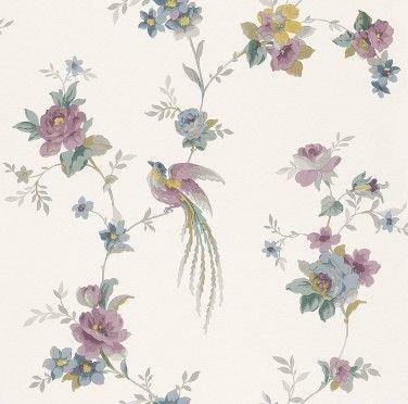 Vliestapete Blumen blau pink gelb Tapete Rasch Sophie Charlotte
