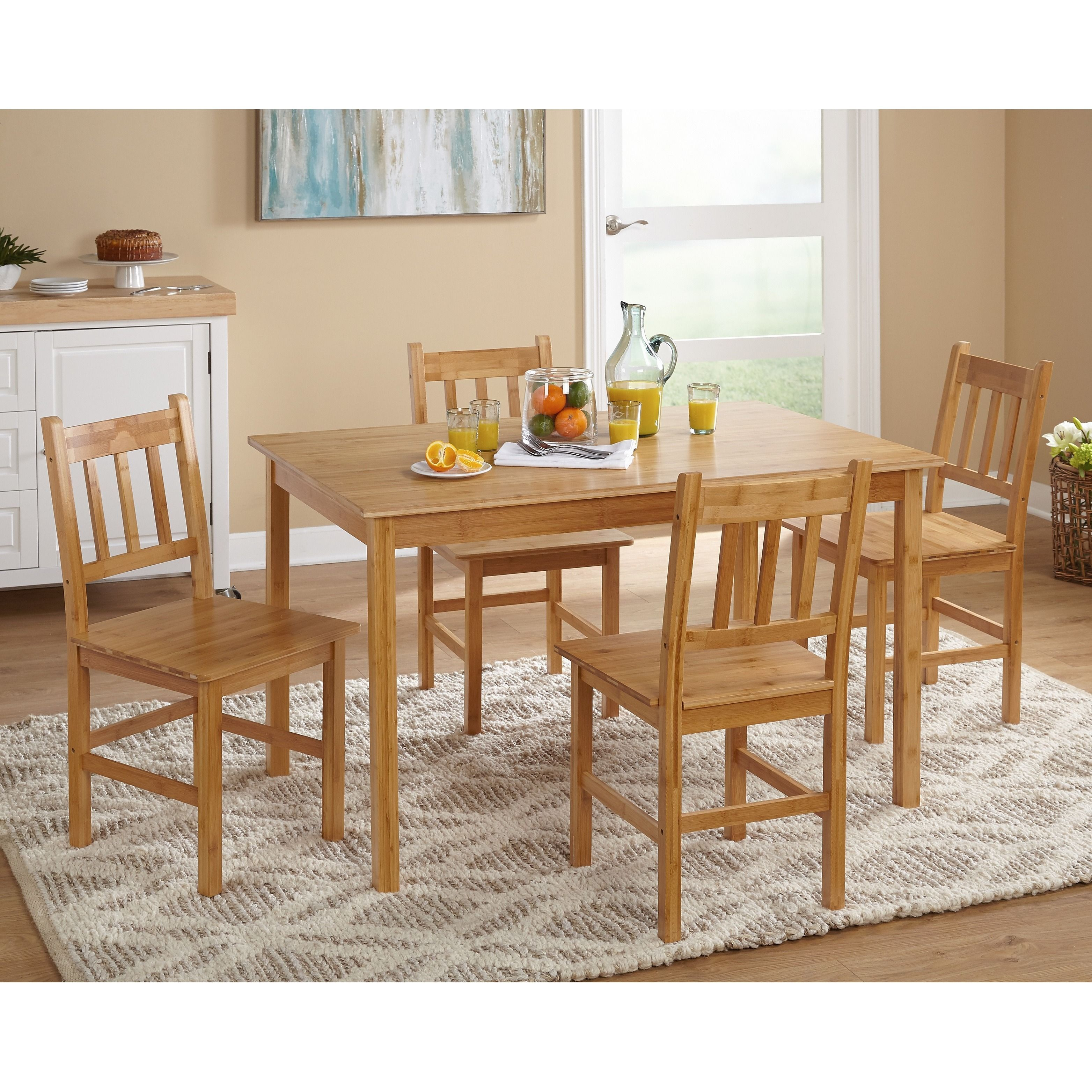 Excellent Simple Living Bamboo 5 Piece Dining Set 5Pc Bamboo Dining Customarchery Wood Chair Design Ideas Customarcherynet