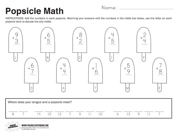 Popsicle Math Free Printable Worksheet First Grade Math Worksheets 1st Grade Math Worksheets First Grade Worksheets