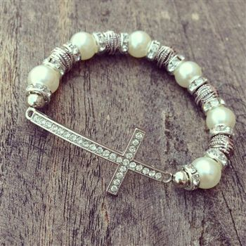 Pearl and Silver Beaded Bracelet with Crystal Cross $24.99! #SouthernFriedChics