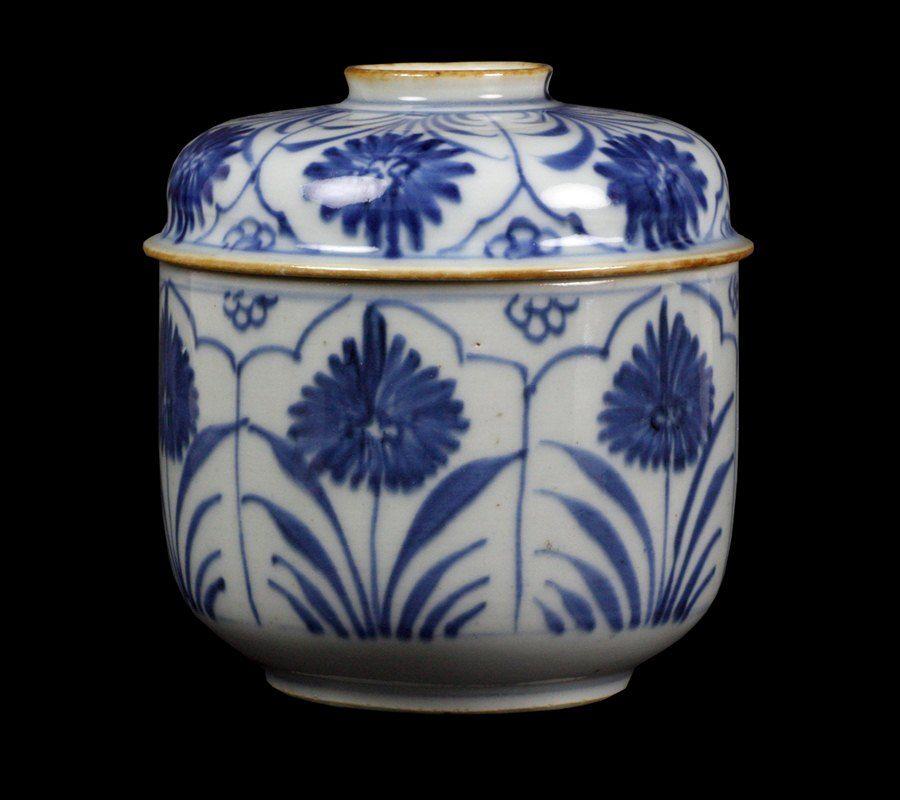 Vintage Blue and White Porcelain Lidded Pot