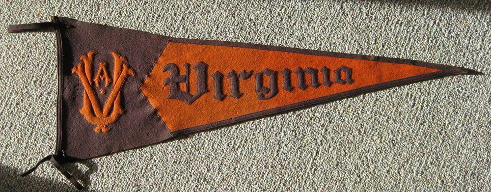 Antique Vintage Uva University Virginia Wool Pennant Flag