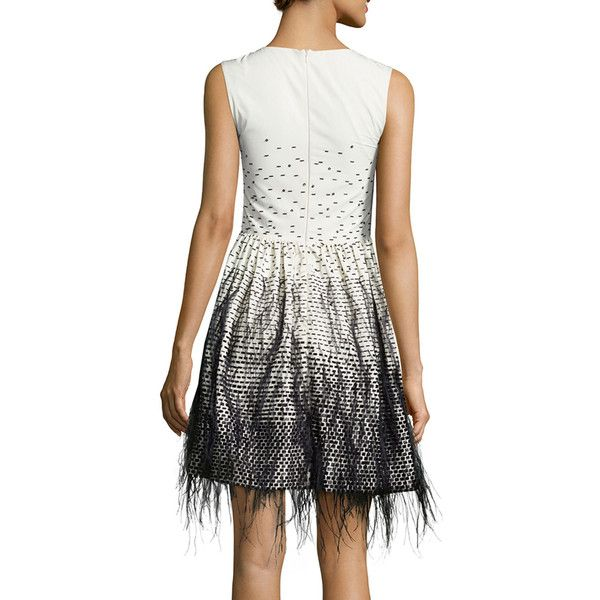 Lela Rose Sleeveless Feather-Embroidered Ombre Dress ($1,905) ❤ liked on Polyvore featuring dresses, embroidered dress, sleeveless dress, embroidery dress, graduation dresses and feather dress
