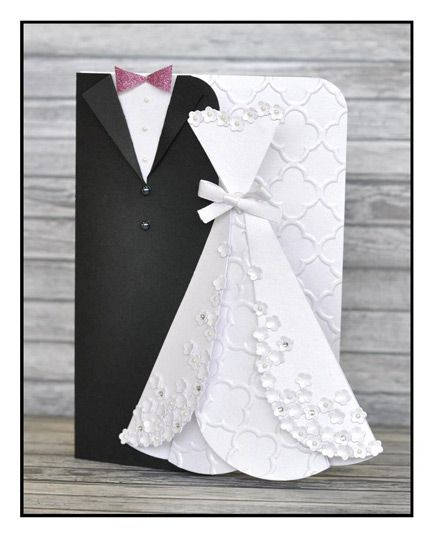 Sizzixuk - Blogs - Pete Hughes - Bride and Groom card complete - formal handmade invitation cards