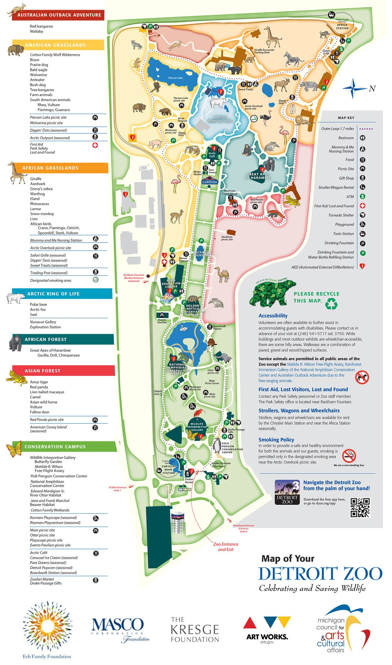 Detroit Zoo Park Map Pinteres