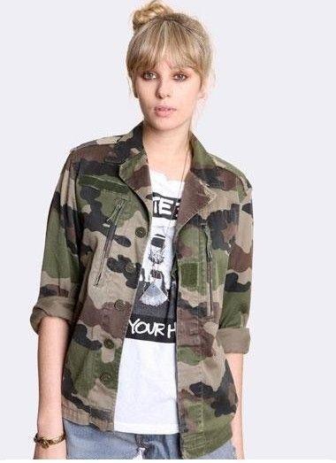 Veste kaki style militaire pour femme
