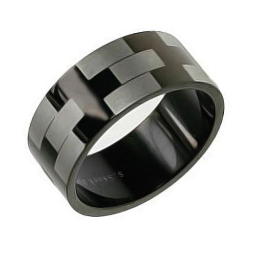 Bling Jewelry 8mm Matte Black Stainless Steel Silver Etched Wedding Band Mens Ring 1499