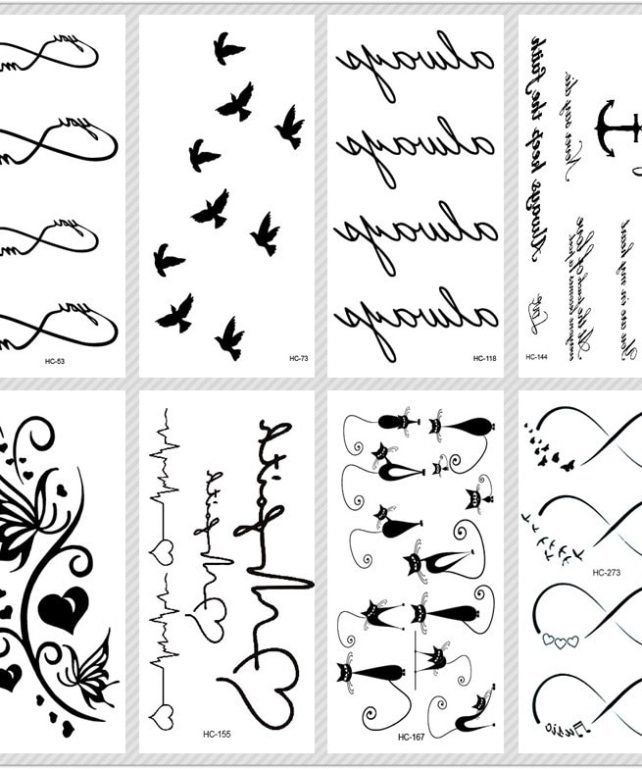 Rocooart Classic Black Tattoo Cat Bird Fake Tattoo Tatuajes Hand Tatouage Body Waterproof Temporary Tattoo Sticker Small Taty