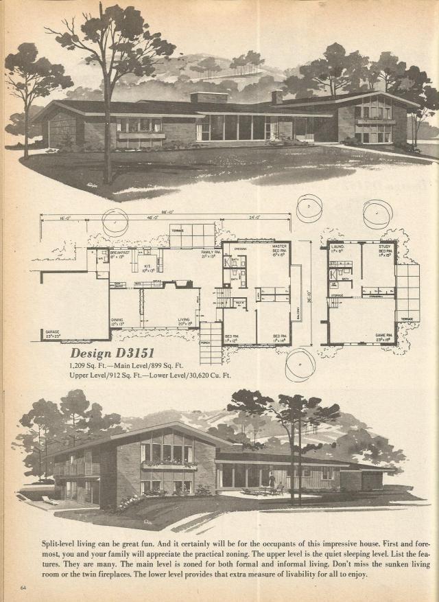 Vintage house plans mid century homes 1970s floor plans for Antique house plans