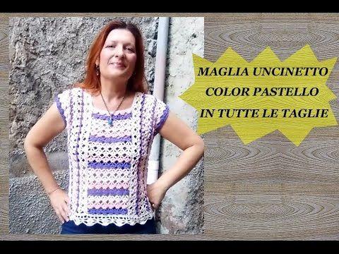 6 Maglia Uncinetto Color Pastello In Tutte Le Taglie Tutorial