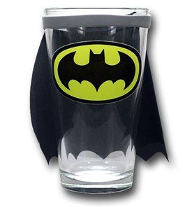 Batman Pint Glass With Cape- Clear View