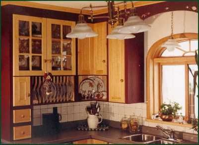 Painted cabinets with natural red pine doors I adore this ...