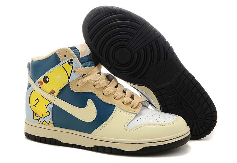 low priced da8f0 8b3bc Womens Nike Dunk High Pikachu Pokemon Print Navy Cream Coloured