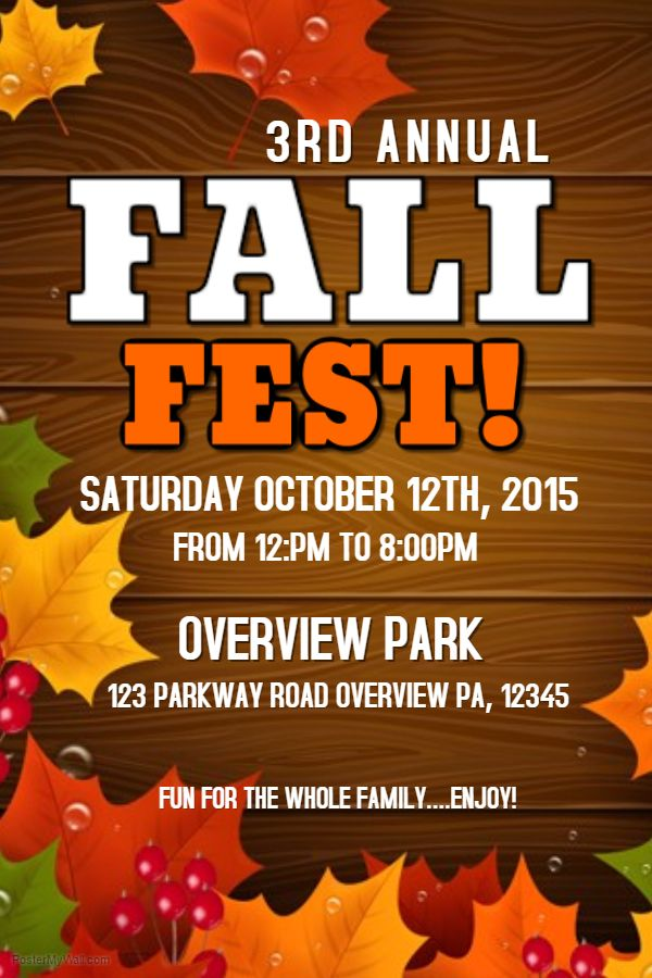 Fall Fest Poster Template Autumn\/Fall Posters Pinterest - fun poster templates