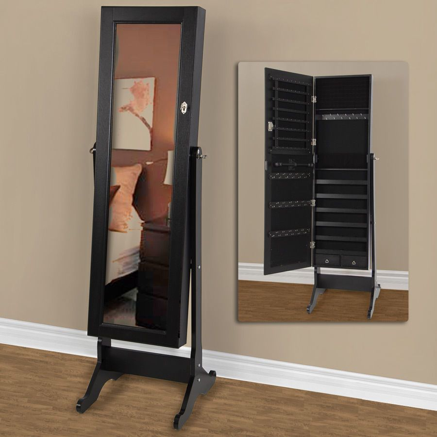 Black Mirrored Jewelry Cabinet Amoire w Stand Mirror Rings