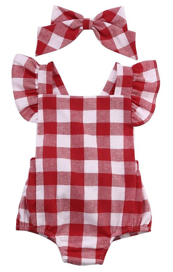 25618b29912 Newborn Infant Baby Girls Clothes Plaids Checks Romper Jumpsuit Bodysuit  Outfits (0-3 Months