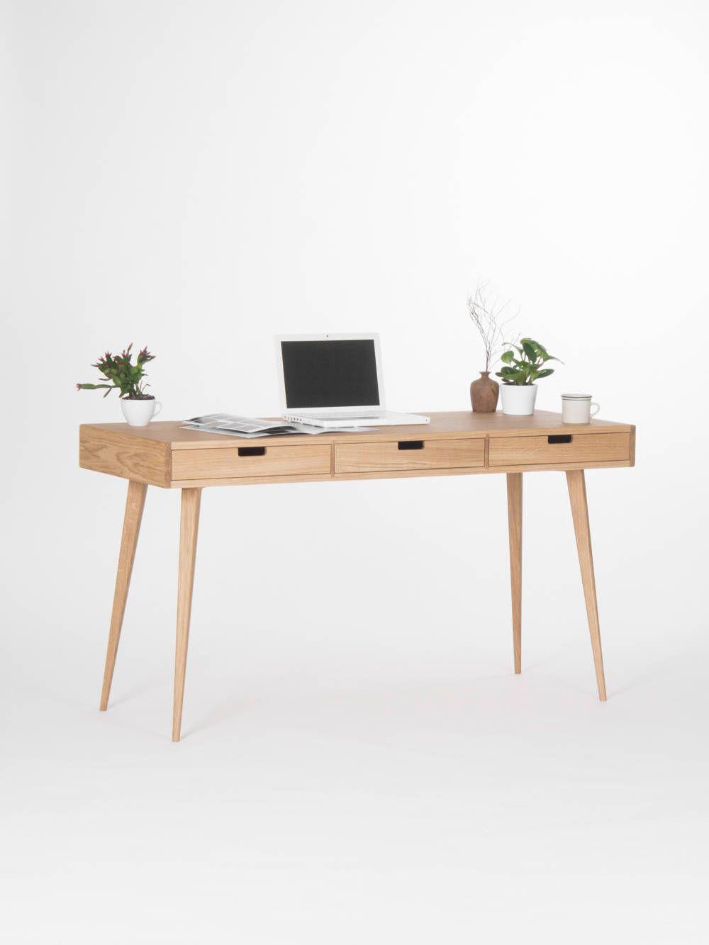 Biurko O Szer 140cm Z Trzema Szufladami W Kolorze Debowym Good Inside In 2021 Modern Wooden Desk Oak Desk Modern Wooden Desk