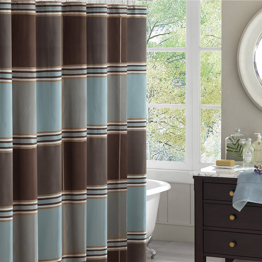 Blue And Brown Curtains Cheap Sale Blue Shower Curtains Brown
