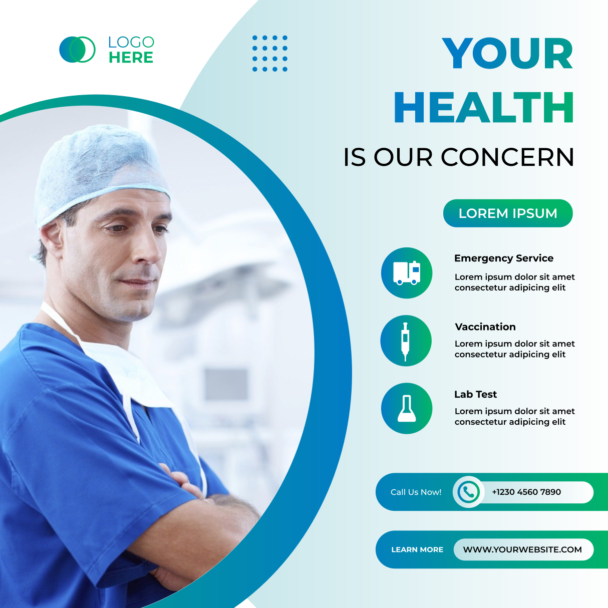 Social Media Post Template For Hospital And Clinic With Green And White Background In 2021 Social Media Post Post Templates Media Post