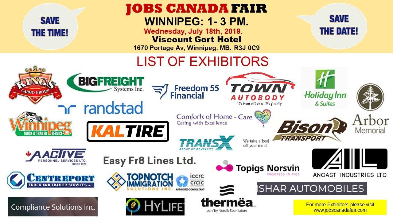 List of hiring companies for winnipeg job fair july 18th