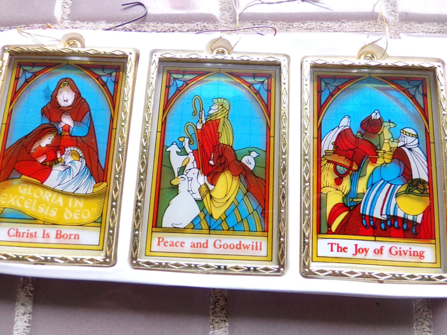 Vintage Stained Glass Nativity Ornaments Christmas Stained Nativity Ornaments Stained Glass Christmas Christmas Ornaments