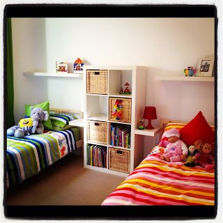 shared room good idea for girls and boys room ikea ducets i love how this splits the room very neatly - Ikea Shared Kids Room