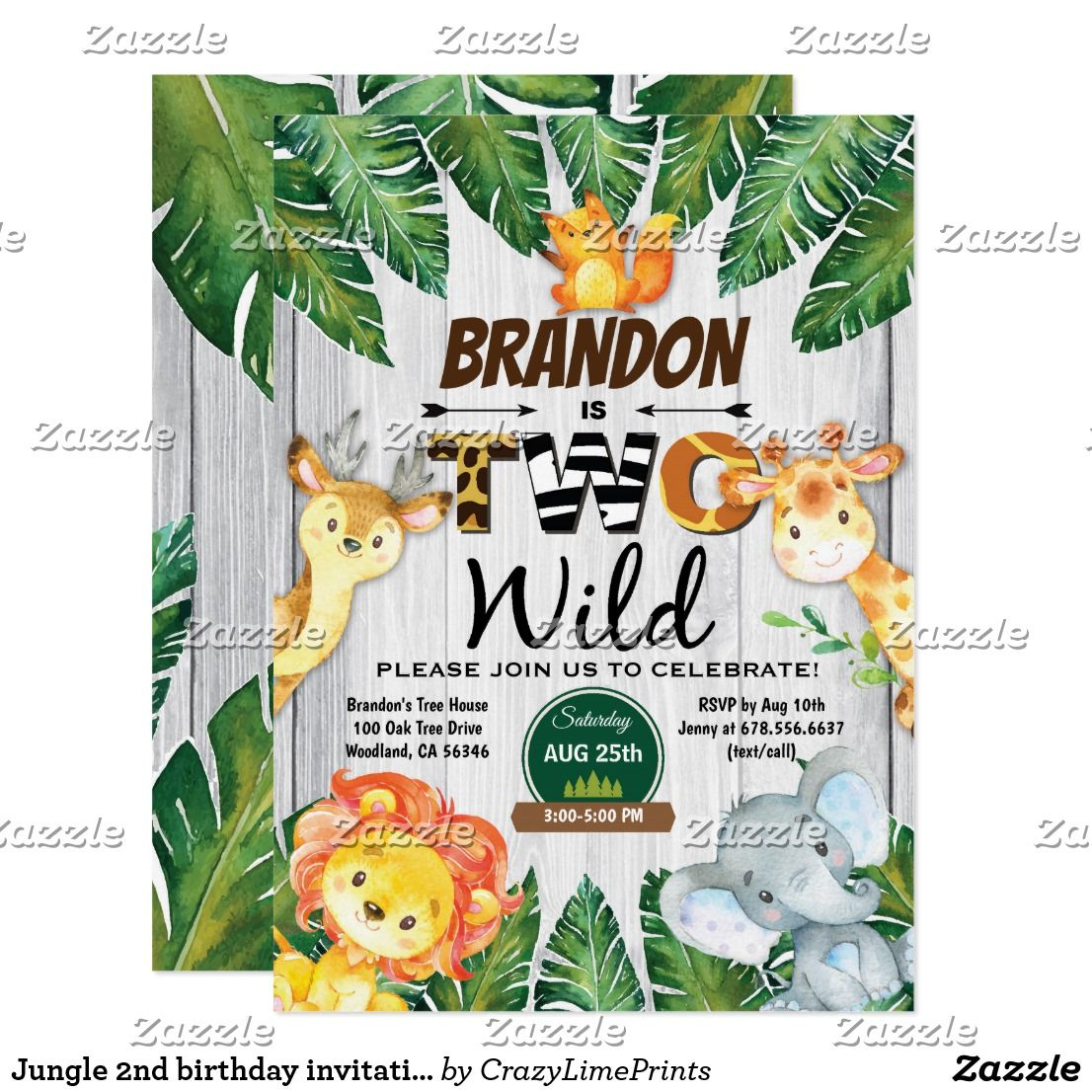 jungle 2nd birthday invitation boy