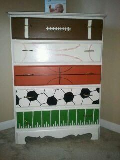 sports dresser...**THIS IS A REALLY CUTE IDEA FOR A BOYS ROOM**