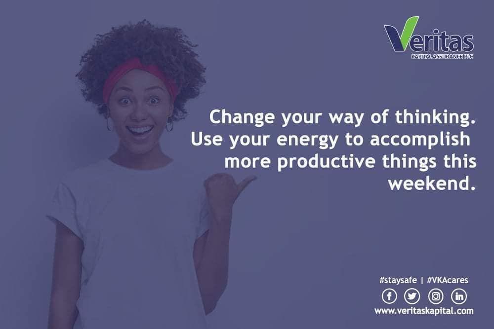 Change your way of thinking. Use your energy to accomplish more productive things this weekend. . . . . . . #TGIF #BeResourceful #vkacares #veritaskapital #insurance #friddayvibe #VKA #bepositive #fridaymotivation #weekendgetaway #stmpvisibility_ #t̸g̸i̸f̸s̸f̸r̸i̸d̸s̸y̸̸̸