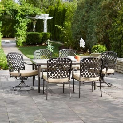 Hampton Bay Posada Piece Patio Dining Set With Gray Cushions
