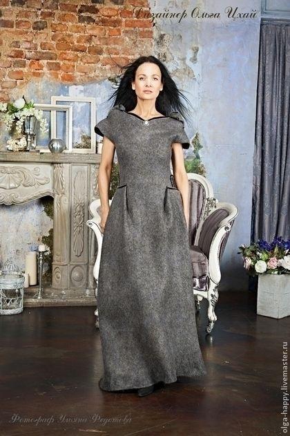 97b7c215c3b7671 Платья ручной работы. Ярмарка Мастеров - ручная работа Валяное платье Цвета  маренго. Handmade.