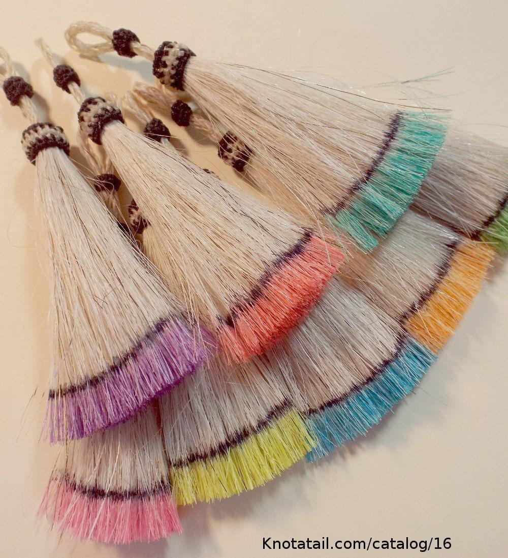 Horsehair Tassel Hand Dyed Tips Pastel Colors Horsehair Tassel