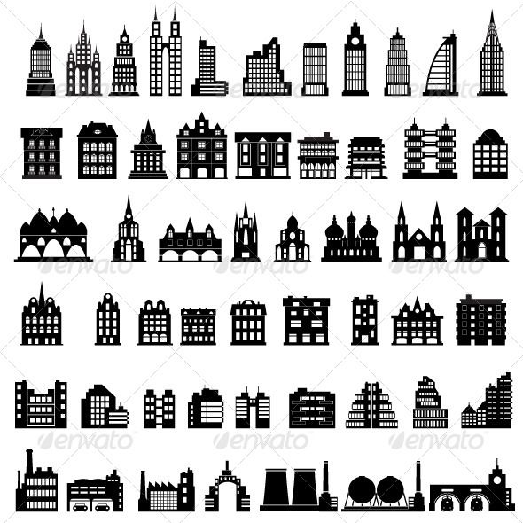 Vector Houses #GraphicRiver Various variants of houses on