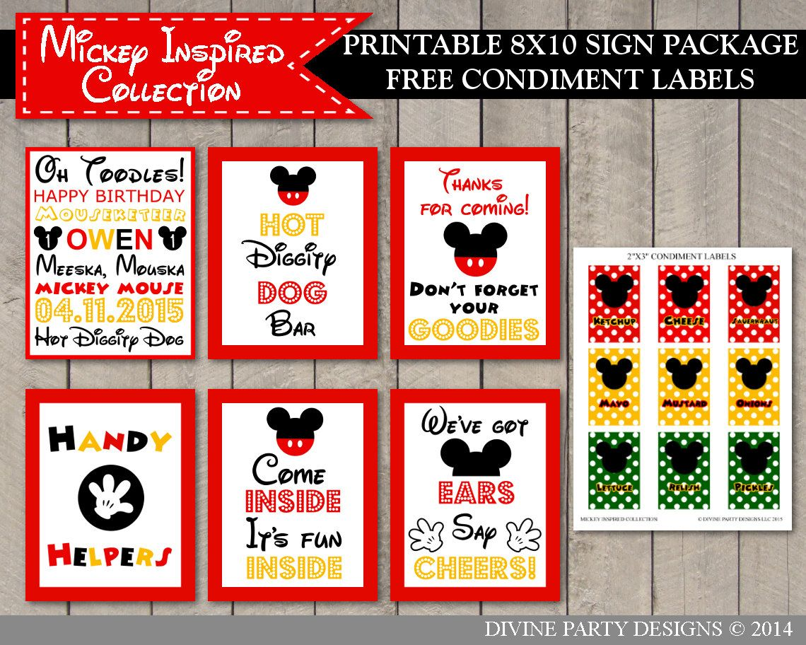 photo relating to Hot Diggity Dog Bar Free Printable identified as Mickey Mouse Birthday Social gathering Printable Indicator Package deal. Contains