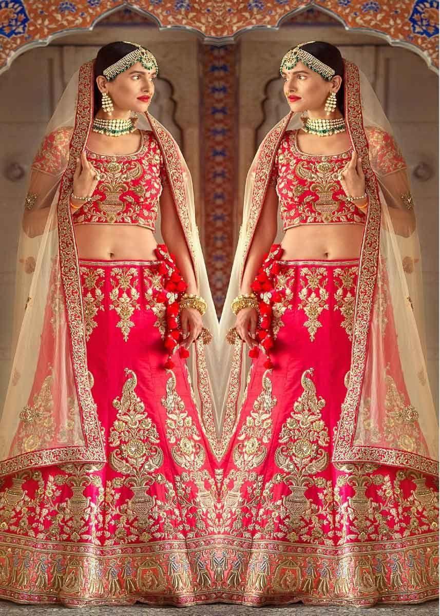 ef84accb25 Designer Red Color Rubi Silk Heavy Embroidered Wedding Wear Bridal Lehenga  Choli