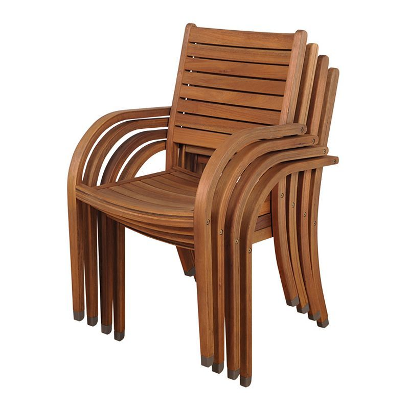 Outdoor Stacking Chair Set Brown