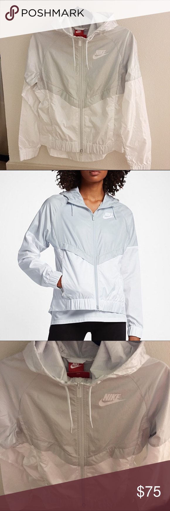 9493c950780259 NWT Nike Women s Sportswear Windrunner Jacket New w tags  804947. XSmall. Pure  Platinum White  White. polyester. Dropped hem for more coverage.
