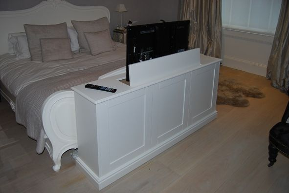 Pop up tv cabinet end bed tv lift cabinet pinterest for End of bed tv stand ikea