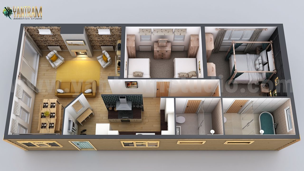 Interactive Small Home Design 3d Floor Plan By Yantarm Architectural Rendering Company Belize In 2021 Small House Design Best Small House Designs House Design
