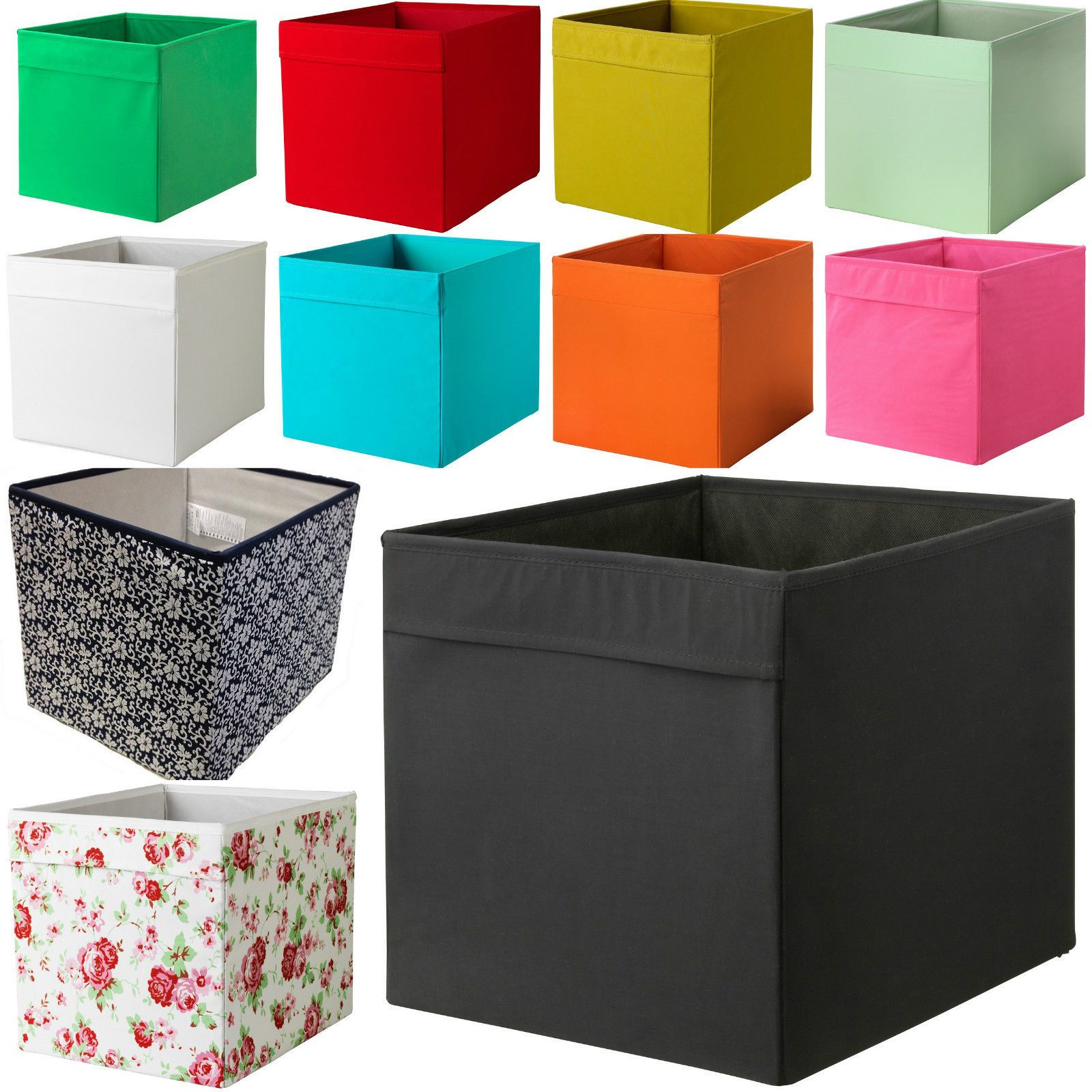 new ikea drona fabric storage box basket for expedit kallax shelf unit bookcase three 39 s a. Black Bedroom Furniture Sets. Home Design Ideas