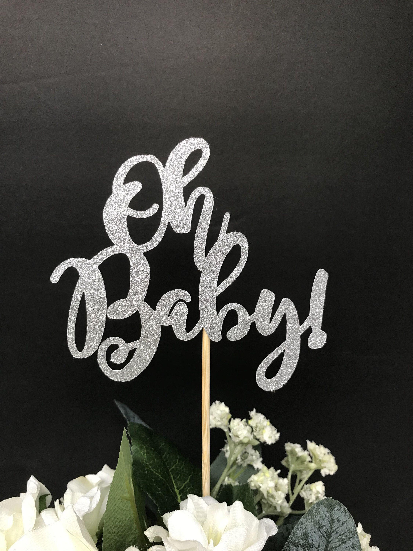 Oh Baby Centerpiece Sticks Baby Shower Glittery Topper Etsy Baby Shower Centerpieces Seuss Baby Shower Invitations Baby Shower Favors Diy
