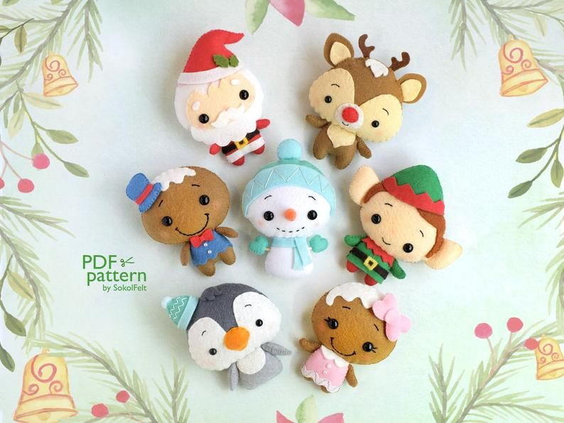 Christmas ornaments PDF felt pattern Snowman Easy Sewing Nursery decor Party Pdf sewing patterns tutorial Baby christmas toy doll pattern