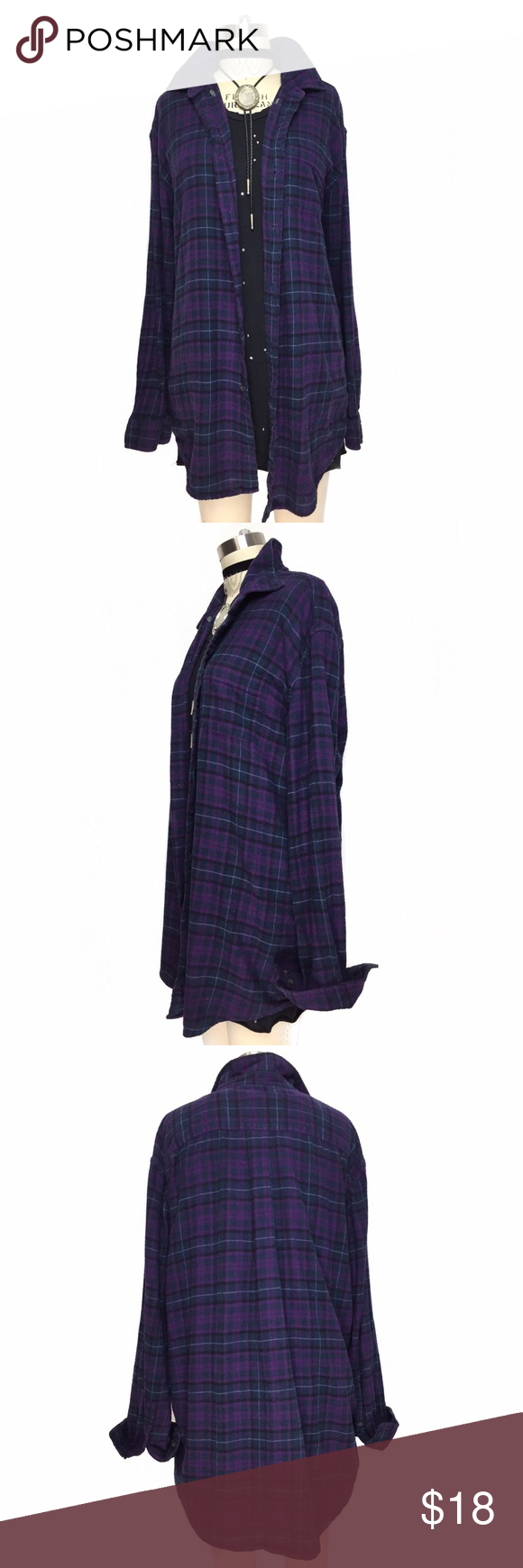 COZY WORN IN SUPER SOFT COTTON BUTTON DOWN FLANNEL OVERSIZED COZY WORN IN SUPER SOFT COTTON BUTTON DOWN FLANNEL!! 100% cotton worn in fabric! The PERFECT grab and go FLANNEL! Purple, navy and black color way is perfect for any season!! Vintage Tops Button Down Shirts