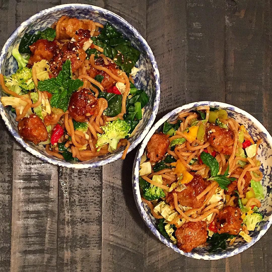 Gardein Pork-less Bites + Noodles + Kale, Cabbage, Broccoli, & Bell Peppers!