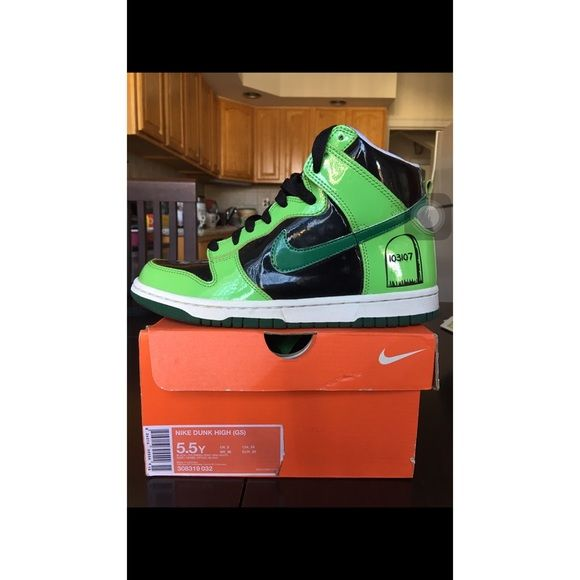 buy popular 4d81f ef7a2 Nike Dunk High (GS) Limited edition Frankenstein   Black and green lining.  Like new. Worn twice.5.5Y youth size (a woman size 6-7) Nike Shoes Sneakers