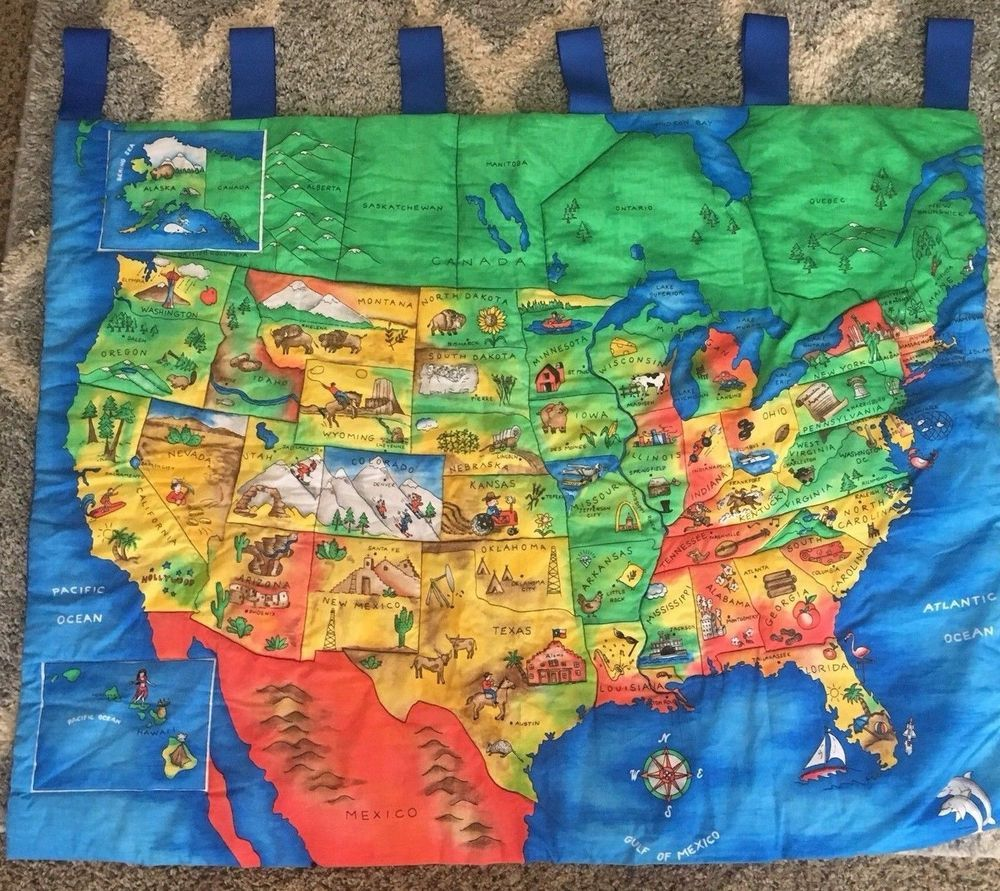 USA Map States Capitals Teacher Quilted Wall